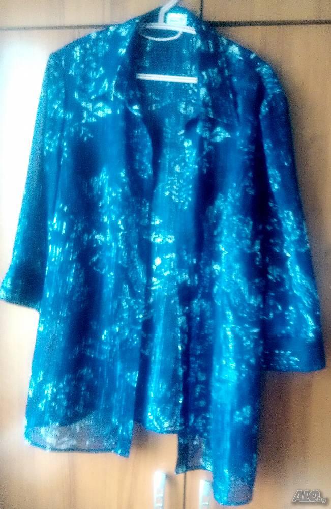 a27dc823d33 Риза, блуза, дамска с 3/4 ръкави XL XXL Риза Дамско тъмносиньо и ...
