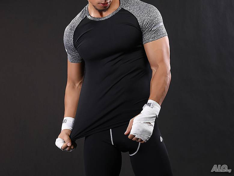 629ca918554 Мъжки тениски за фитнес и спорт - черна M L XL XXL Тениска Мъжко ...